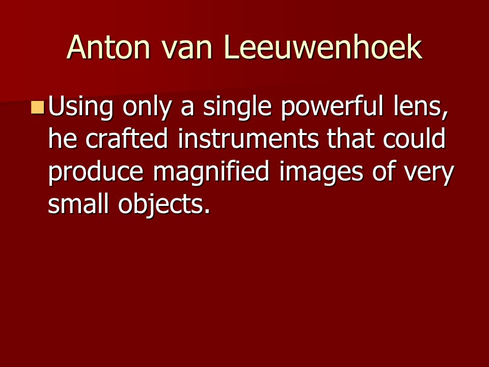 Anton van Leeuwenhoek Using only a single powerful lens, he crafted instruments that could produce magnified images of very small objects.
