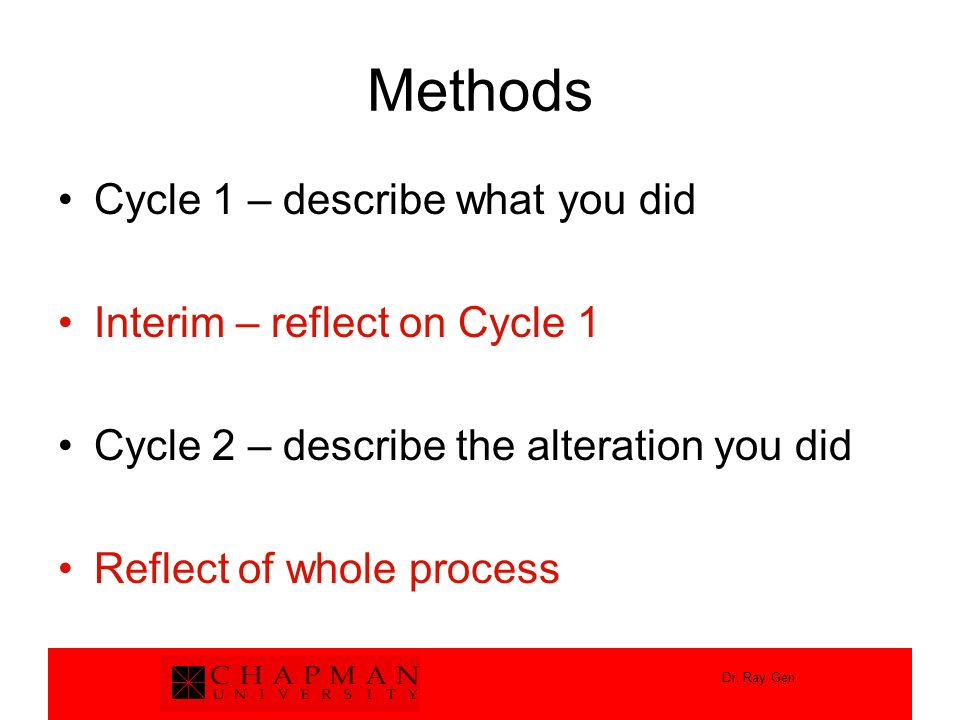 Methods Cycle 1 – describe what you did Interim – reflect on Cycle 1