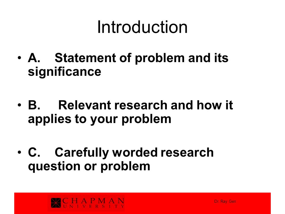 Introduction A. Statement of problem and its significance