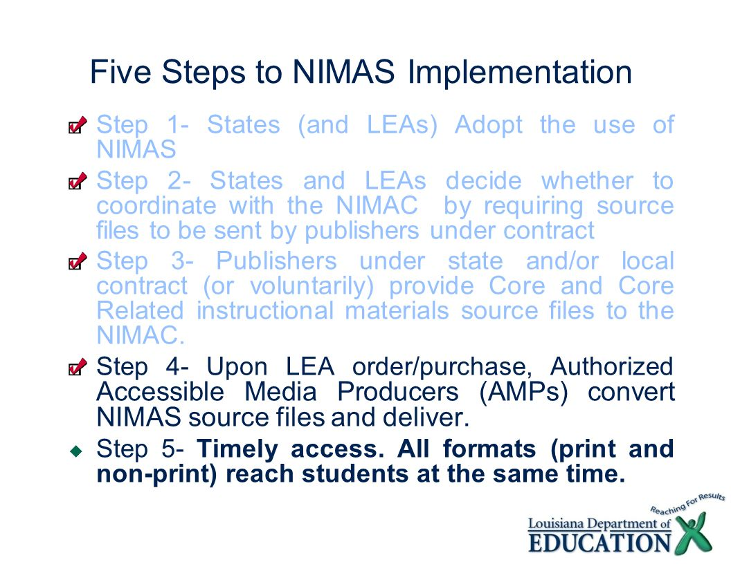 Five Steps to NIMAS Implementation