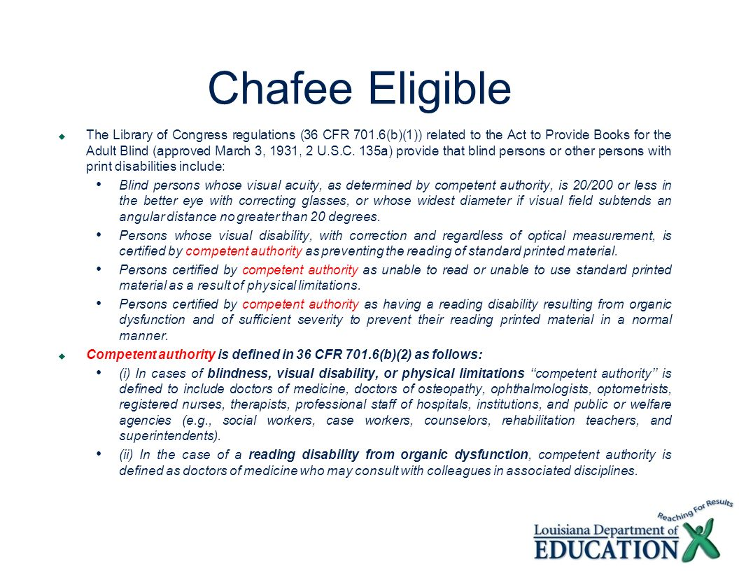 Chafee Eligible