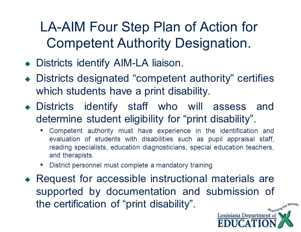 LA-AIM Four Step Plan of Action for Competent Authority Designation.