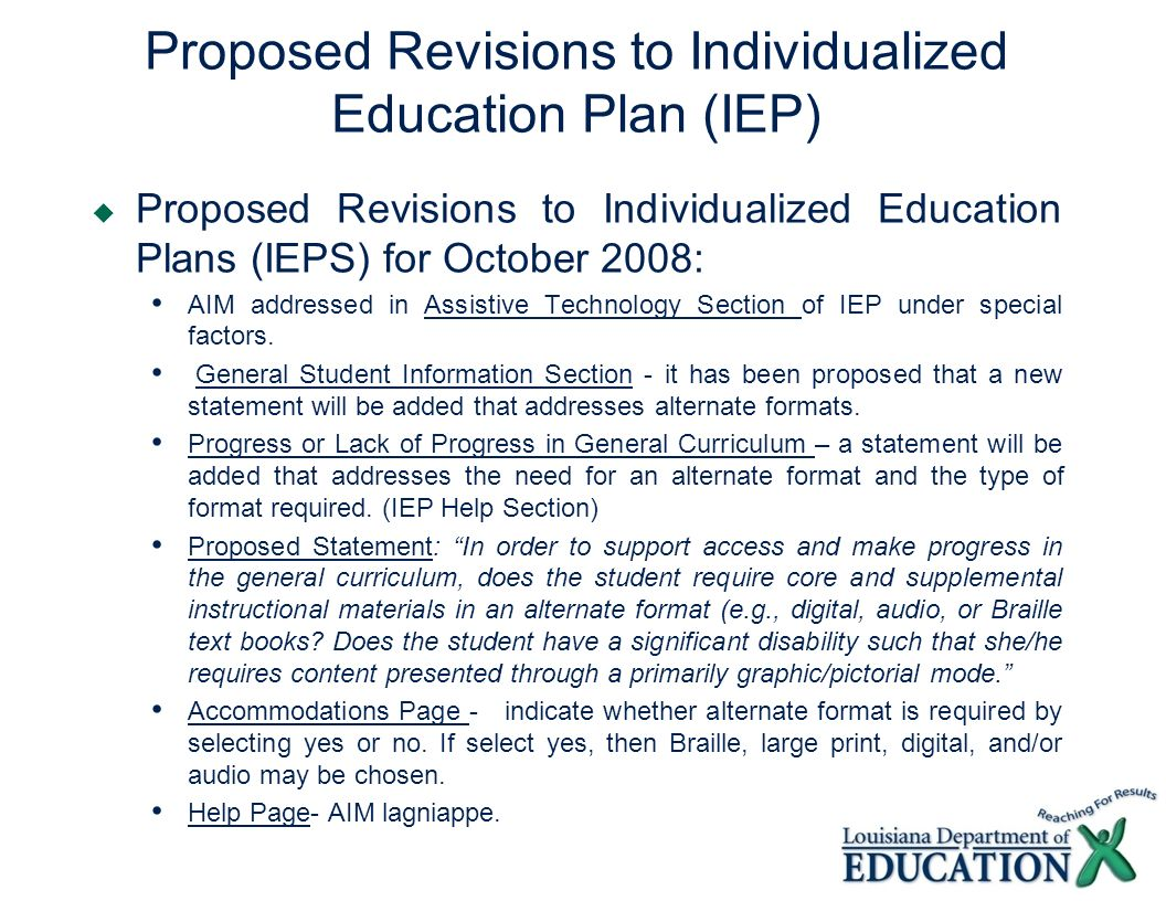 Proposed Revisions to Individualized Education Plan (IEP)