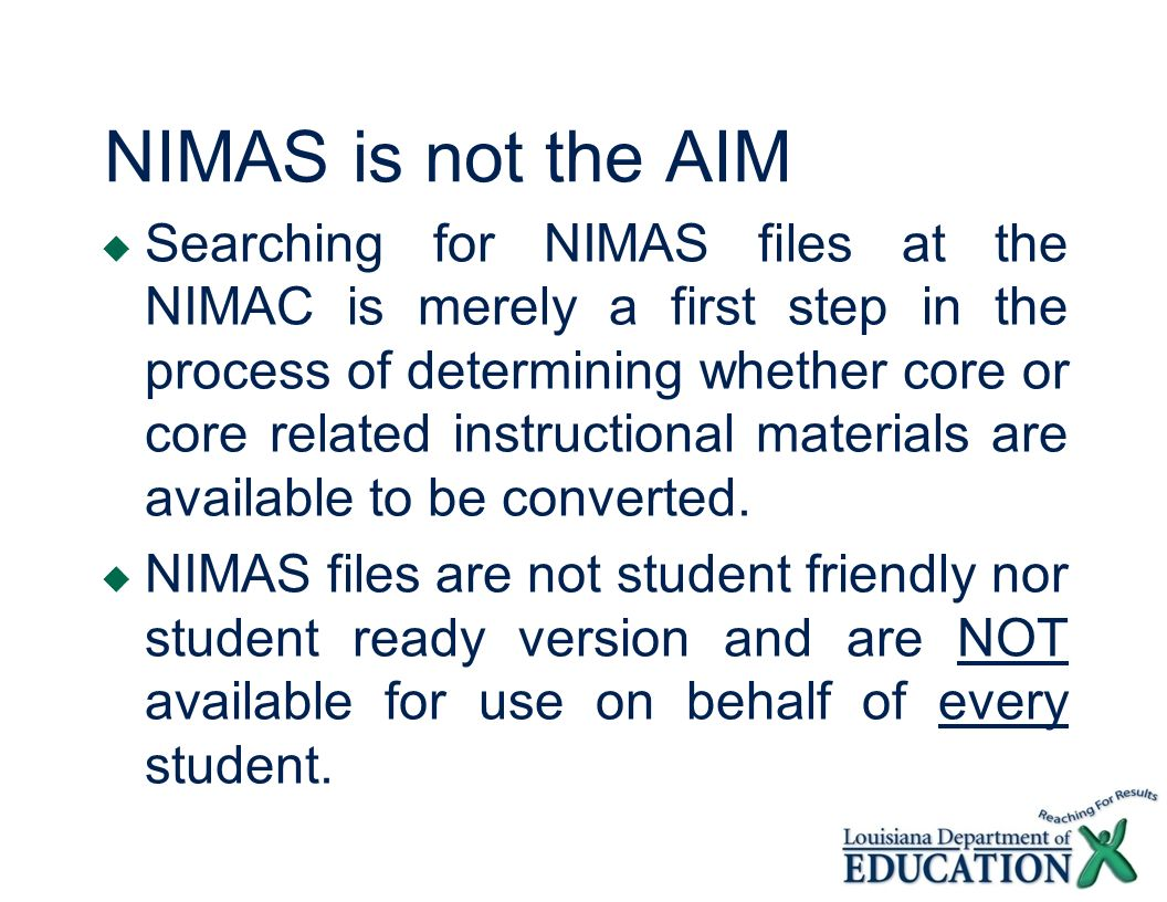 NIMAS is not the AIM
