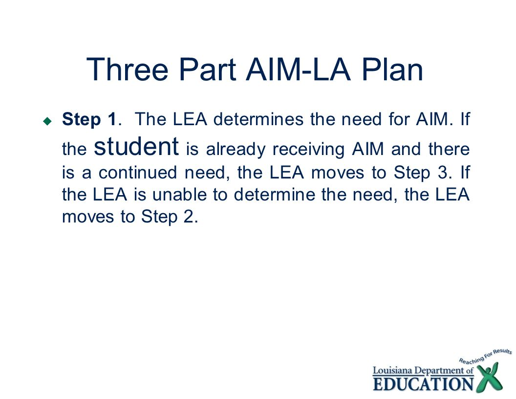 Three Part AIM-LA Plan