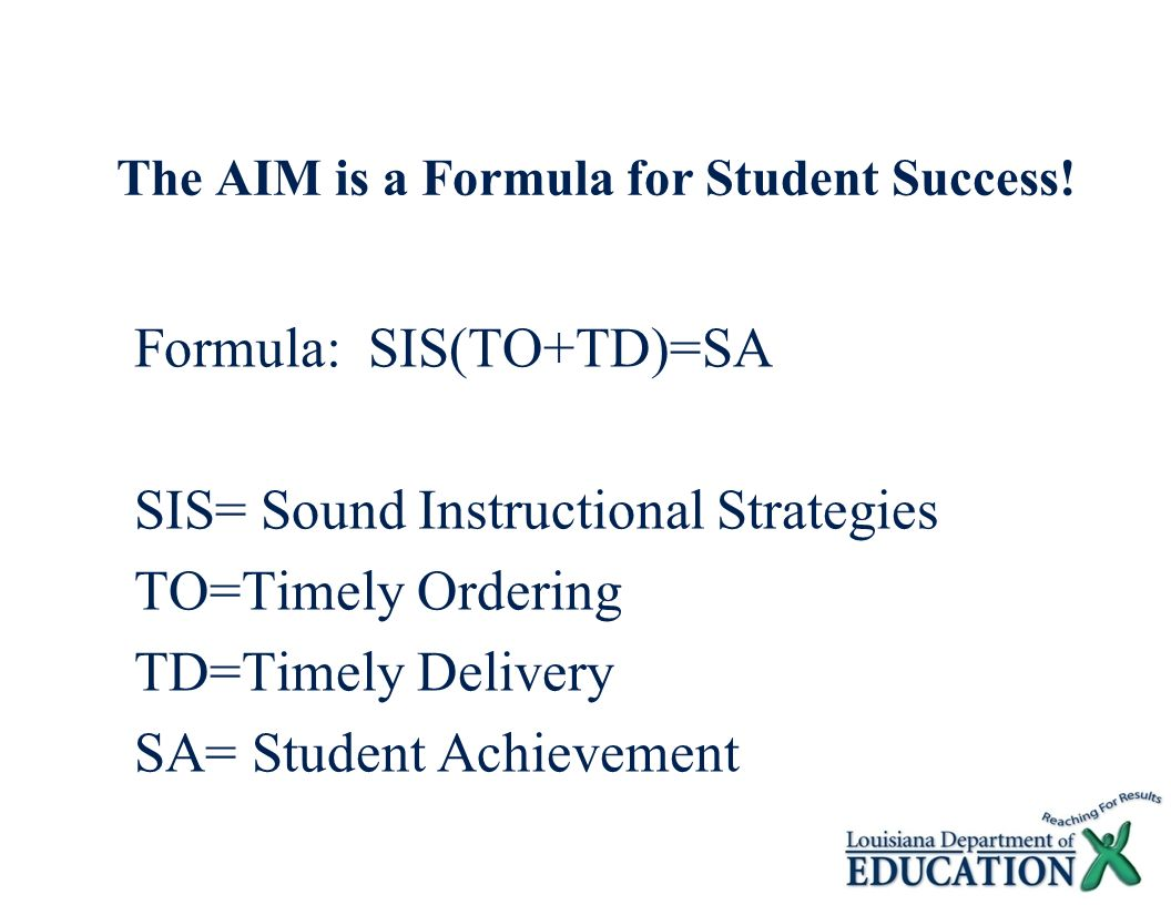 The AIM is a Formula for Student Success!