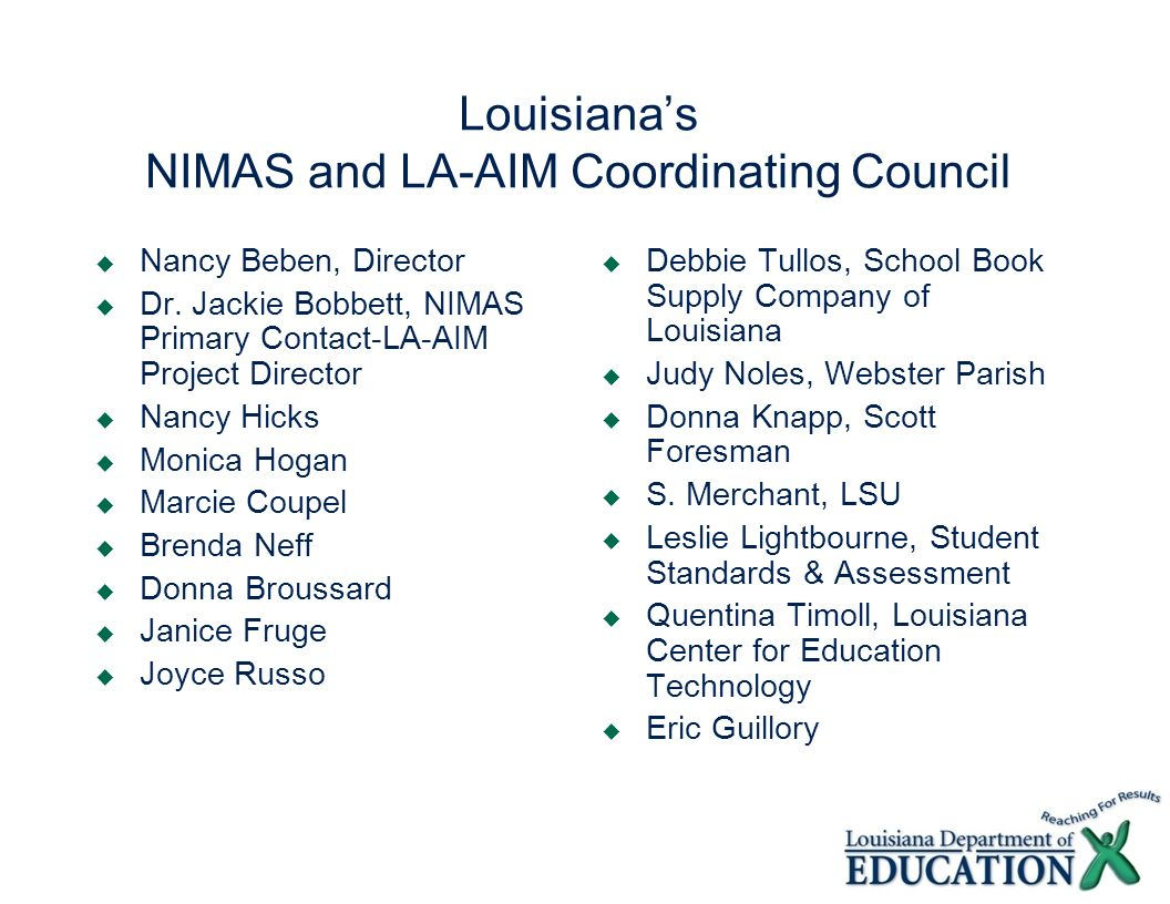 Louisiana's NIMAS and LA-AIM Coordinating Council