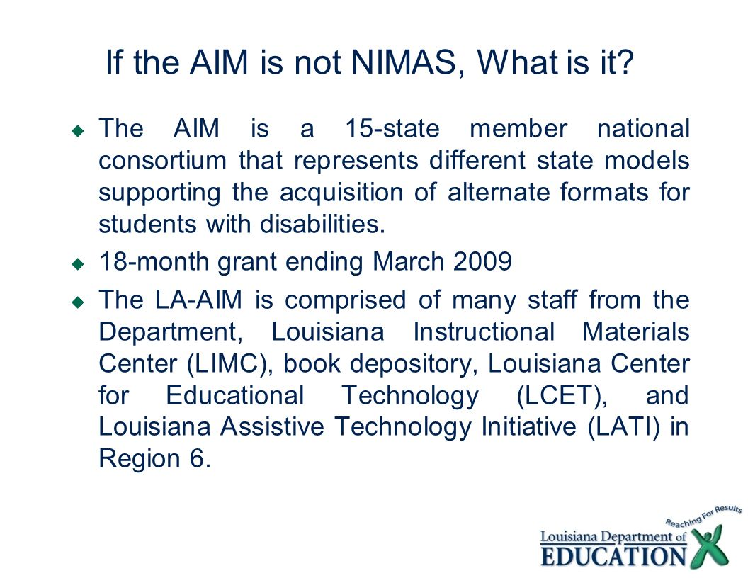 If the AIM is not NIMAS, What is it