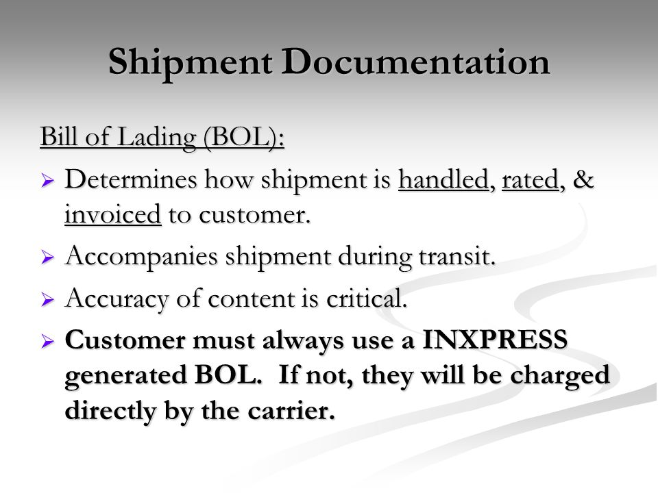 Shipment Documentation