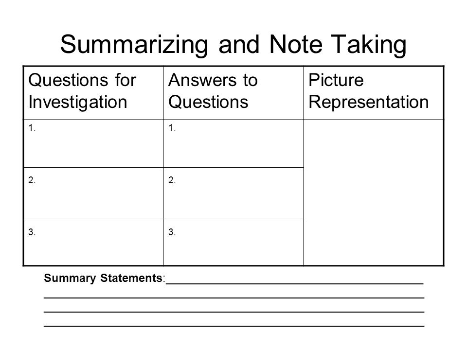 Summarizing and Note Taking