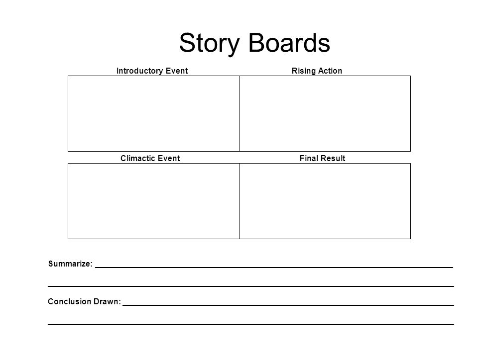 Story Boards Introductory Event Rising Action Climactic Event