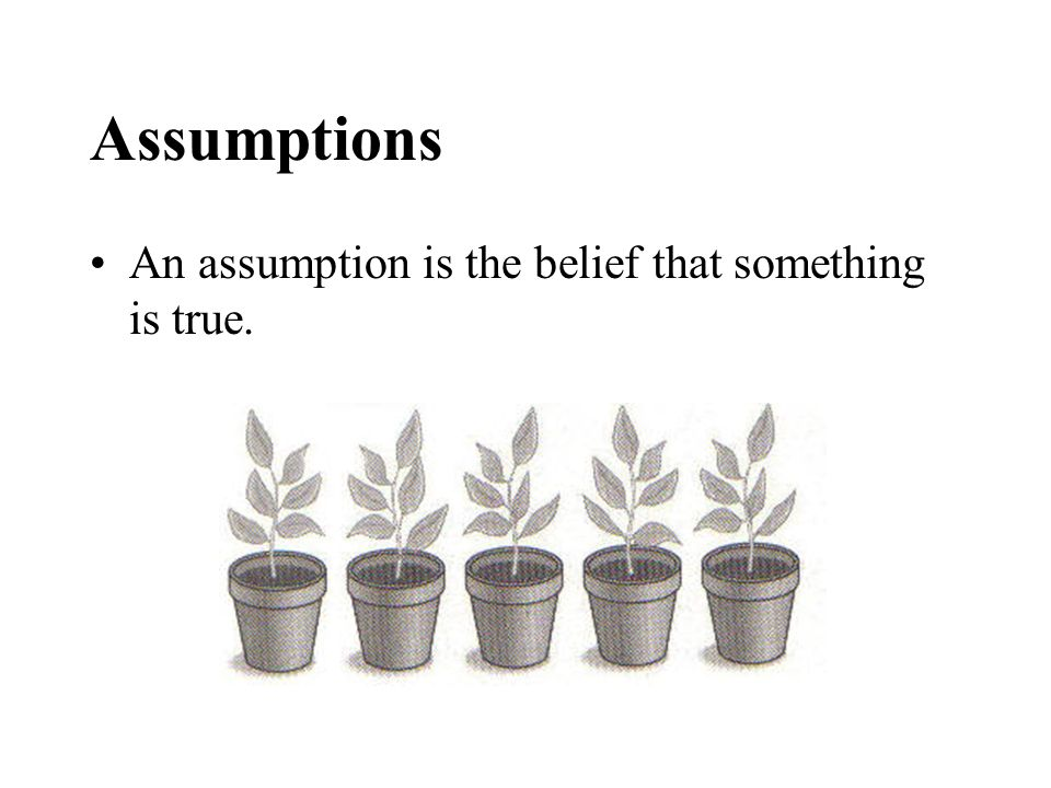 Assumptions An assumption is the belief that something is true.