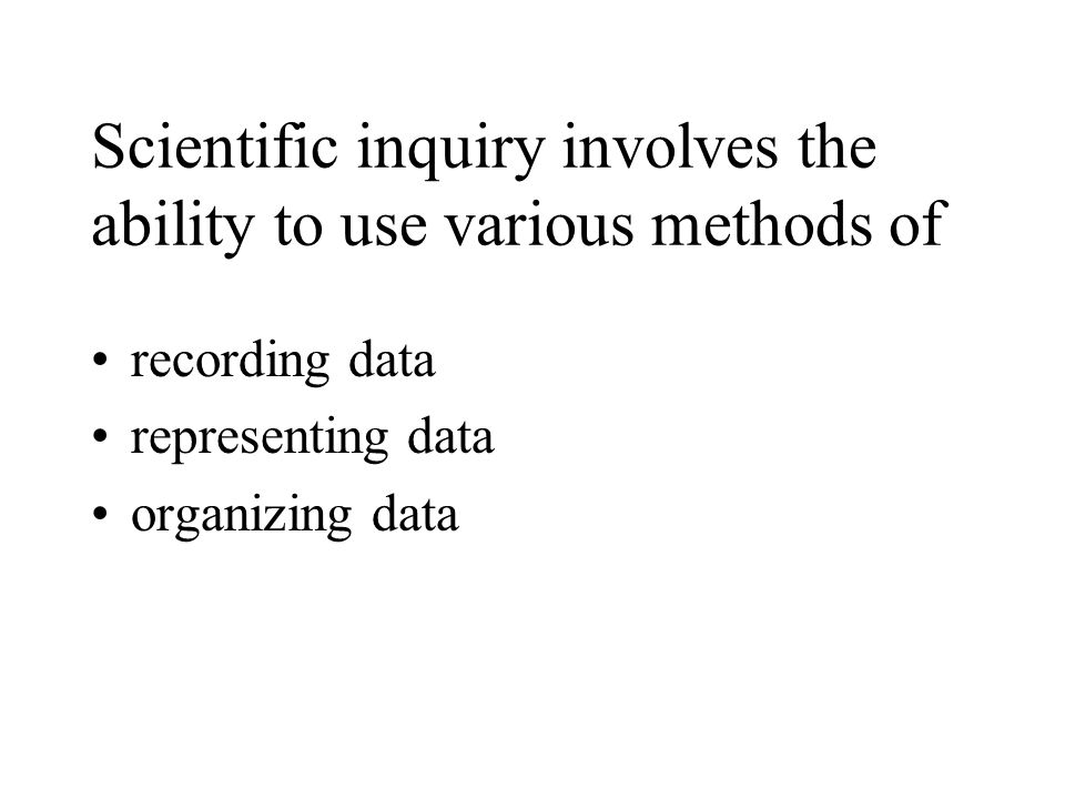 Scientific inquiry involves the ability to use various methods of