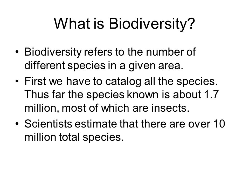 What is Biodiversity Biodiversity refers to the number of different species in a given area.