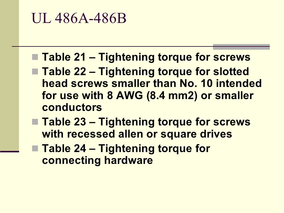 UL 486A-486B Table 21 – Tightening torque for screws