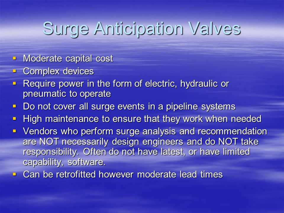 Avoiding Pressure Surge Damage in Pipeline Systems - ppt