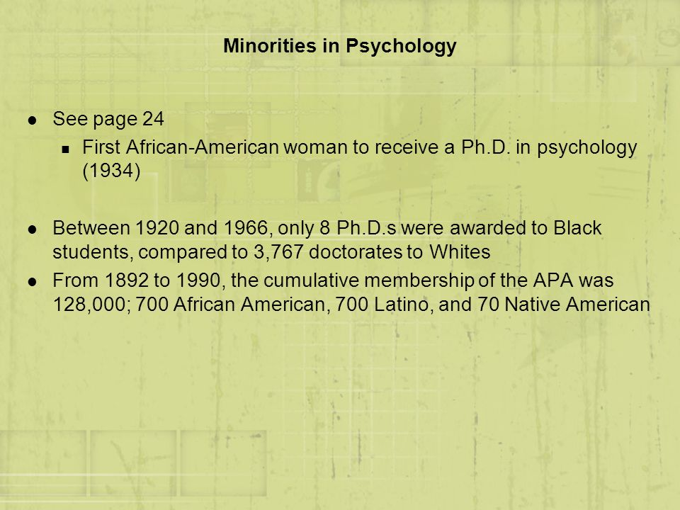 Minorities in Psychology