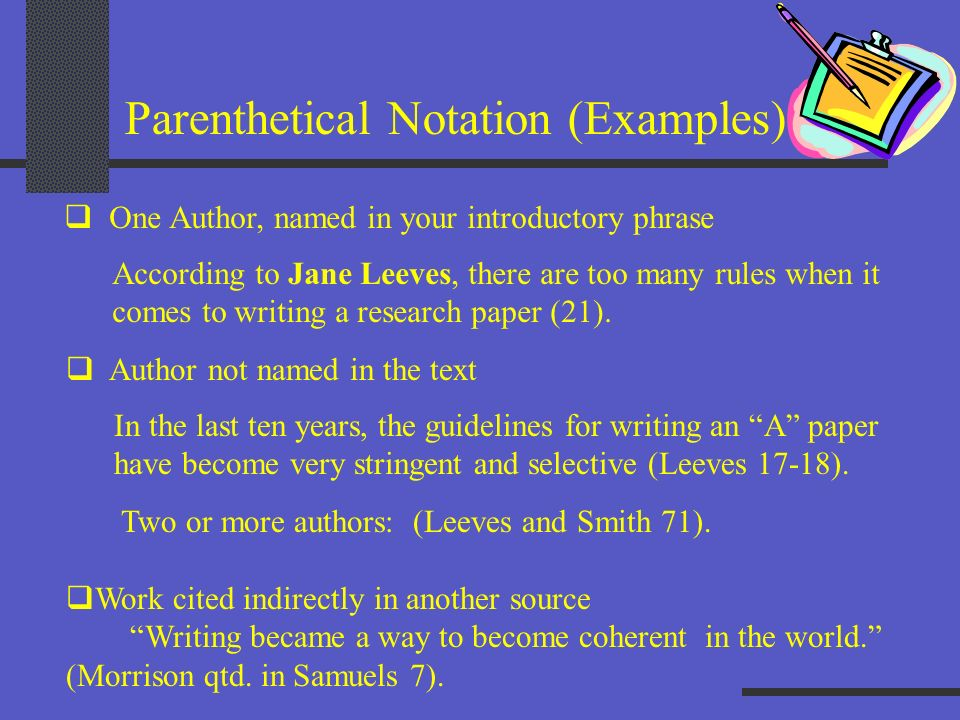 Parenthetical Notation (Examples)