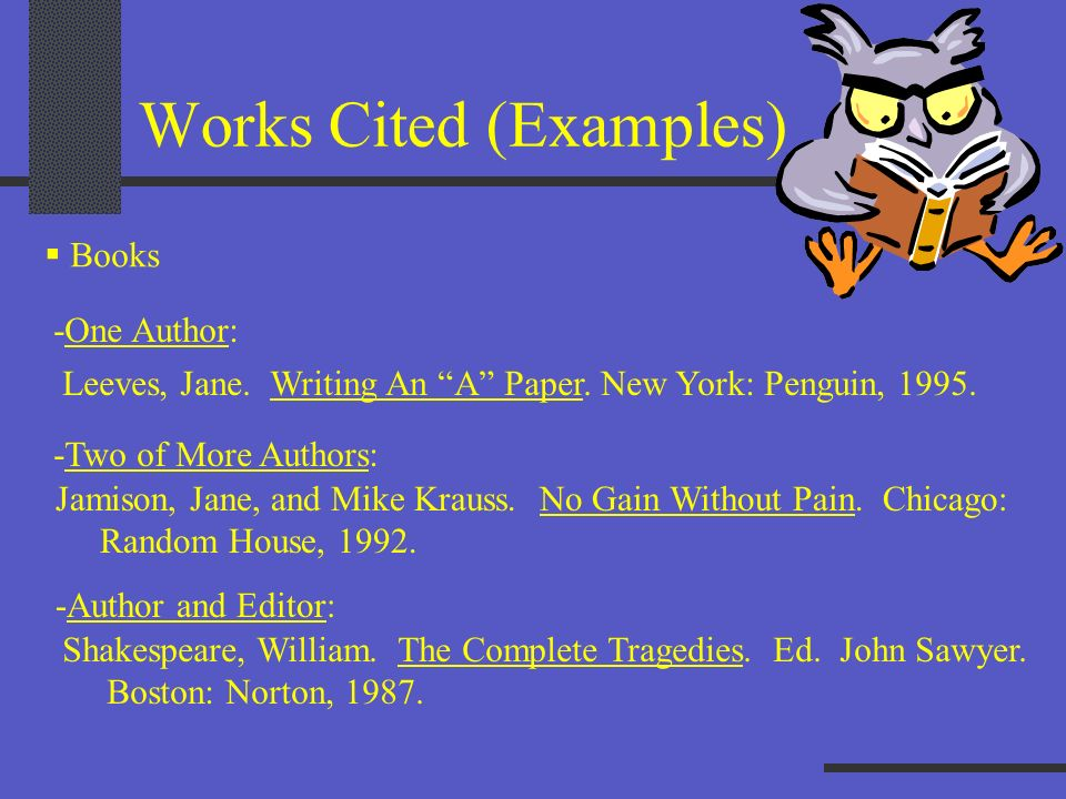 Works Cited (Examples)