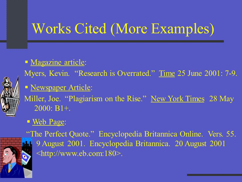 Works Cited (More Examples)