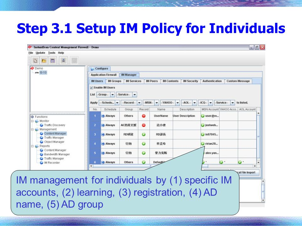 Step 3.1 Setup IM Policy for Individuals
