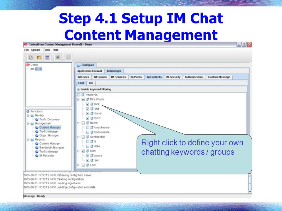 Step 4.1 Setup IM Chat Content Management