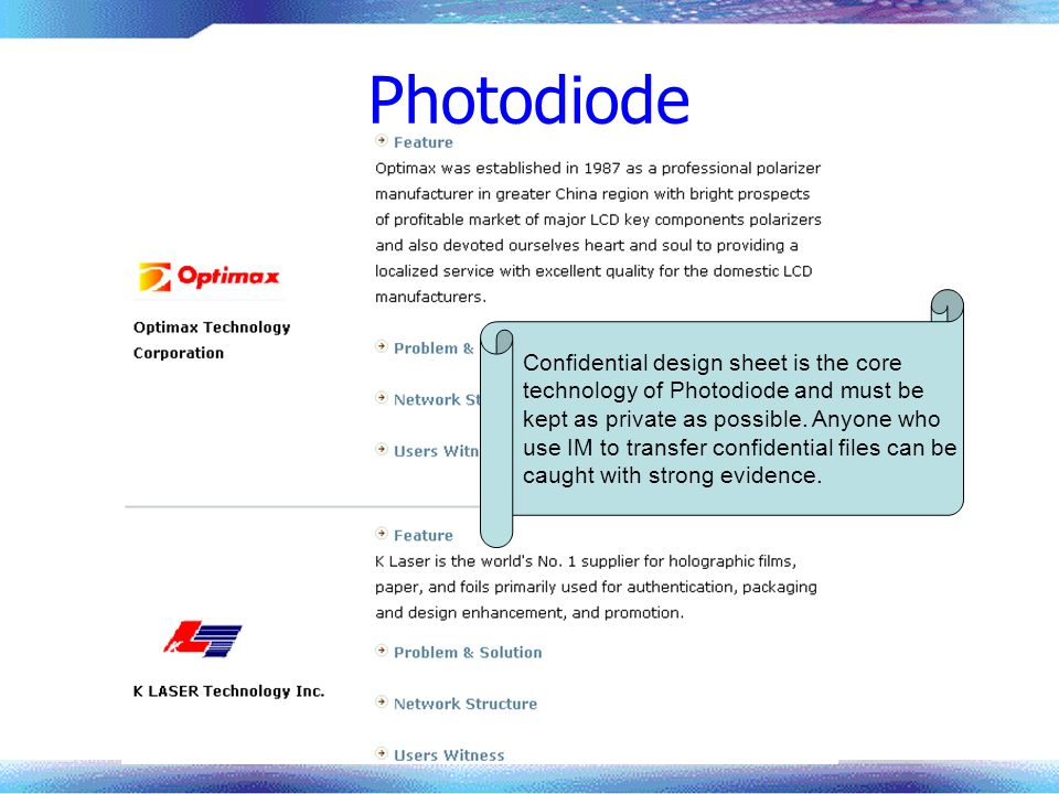 Photodiode Confidential design sheet is the core