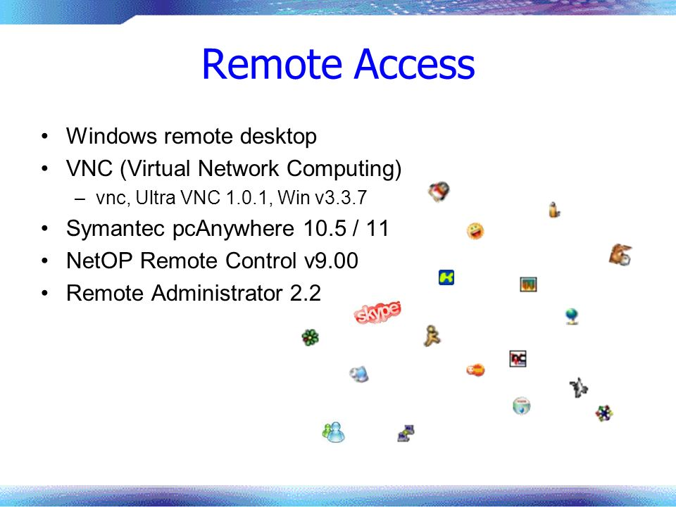 Remote Access Windows remote desktop VNC (Virtual Network Computing)