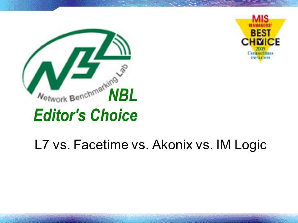 L7 vs. Facetime vs. Akonix vs. IM Logic