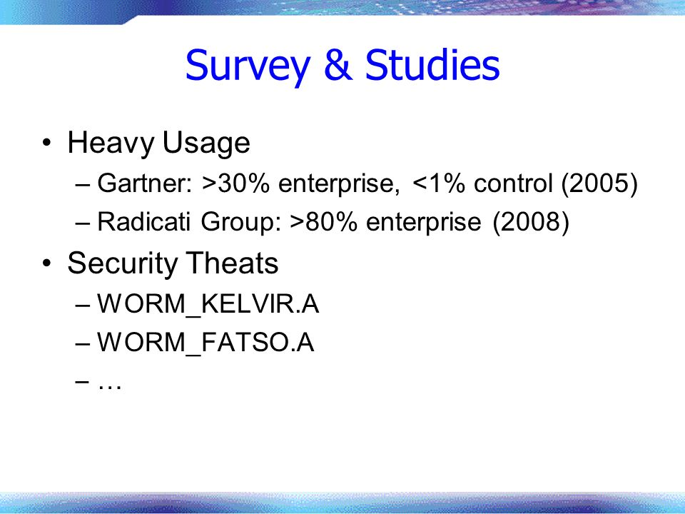 Survey & Studies Heavy Usage Security Theats