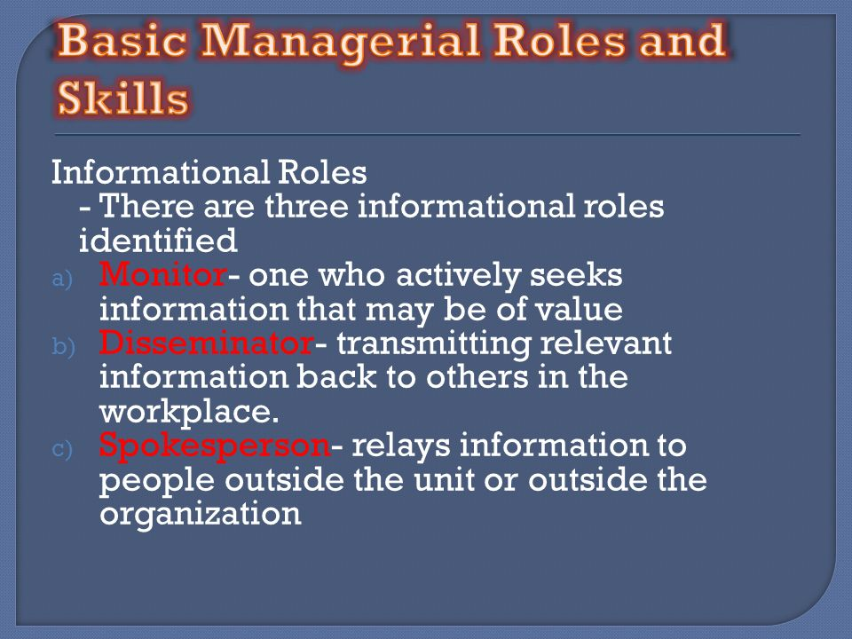 Basic Managerial Roles and Skills