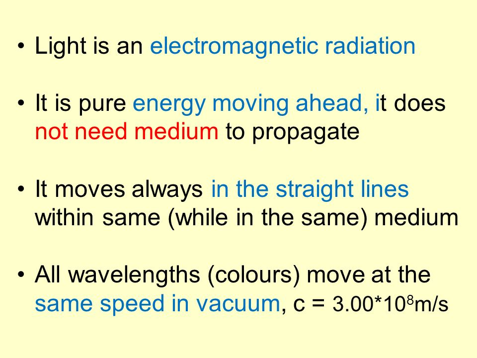 Light is an electromagnetic radiation