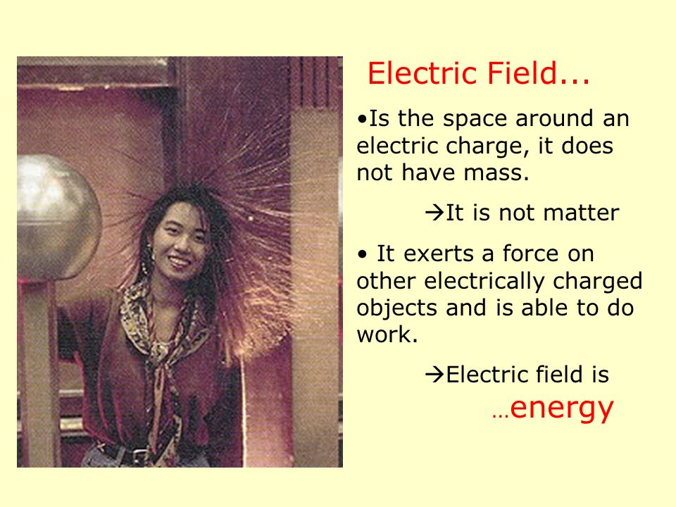 Electric Field... Is the space around an electric charge, it does not have mass. It is not matter.