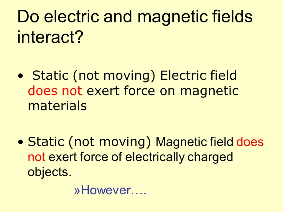 Do electric and magnetic fields interact