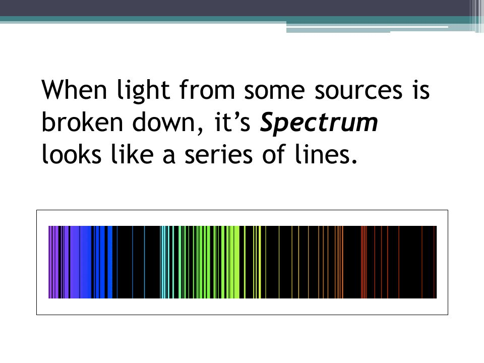 When light from some sources is broken down, it's Spectrum looks like a series of lines.