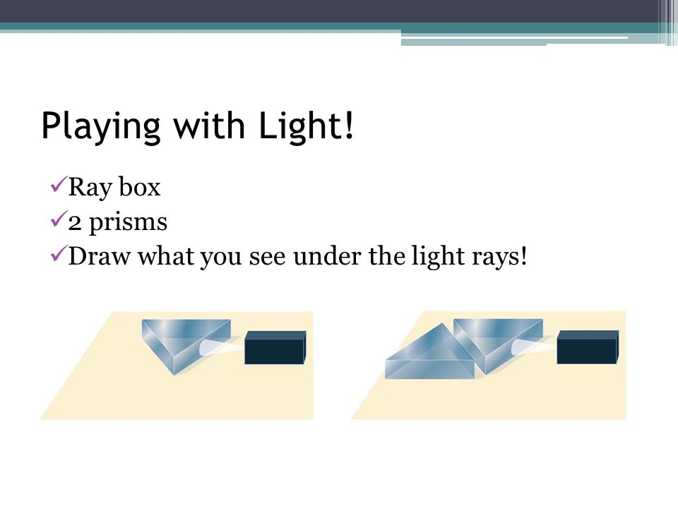 Playing with Light! Ray box 2 prisms