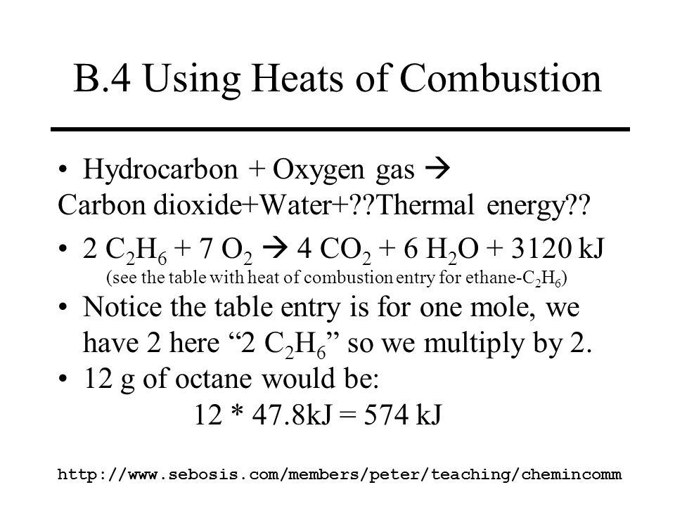 B.4 Using Heats of Combustion