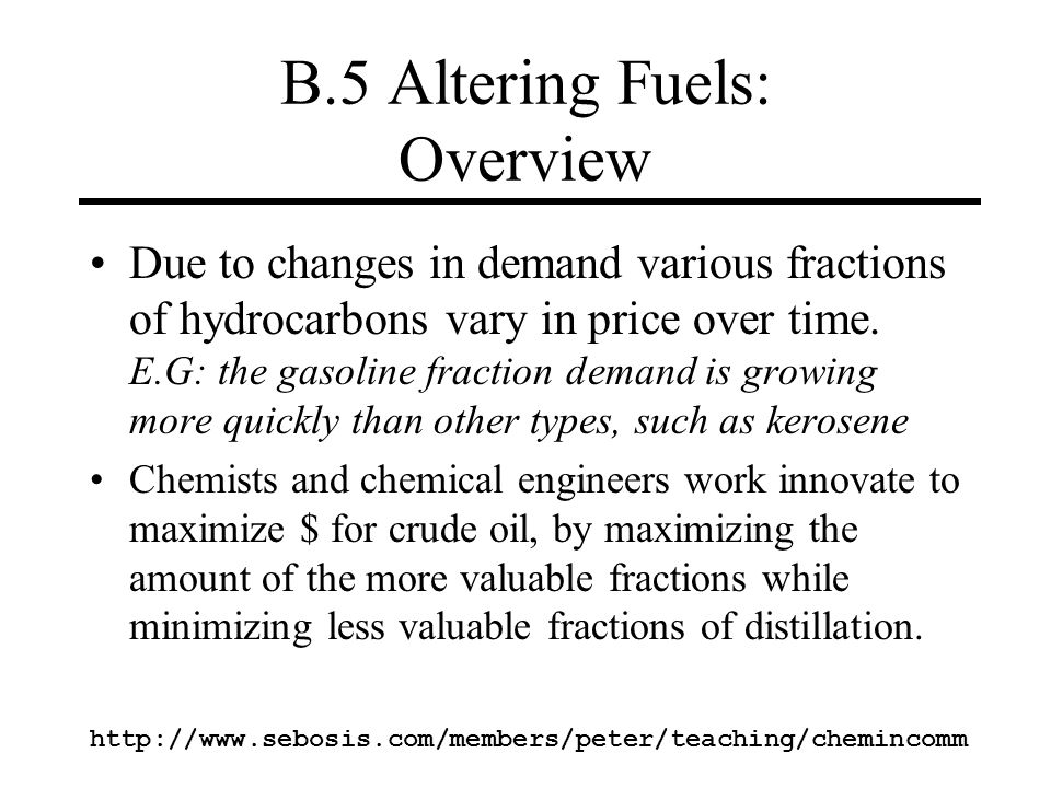 B.5 Altering Fuels: Overview