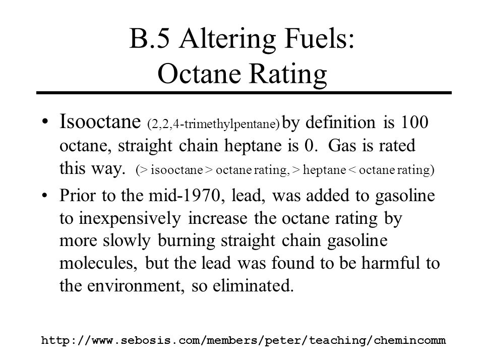 B.5 Altering Fuels: Octane Rating