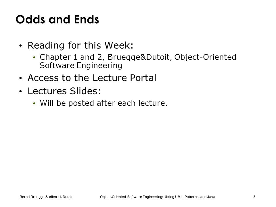 Odds and Ends Reading for this Week: Access to the Lecture Portal