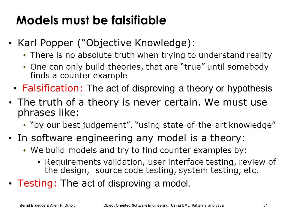 Models must be falsifiable