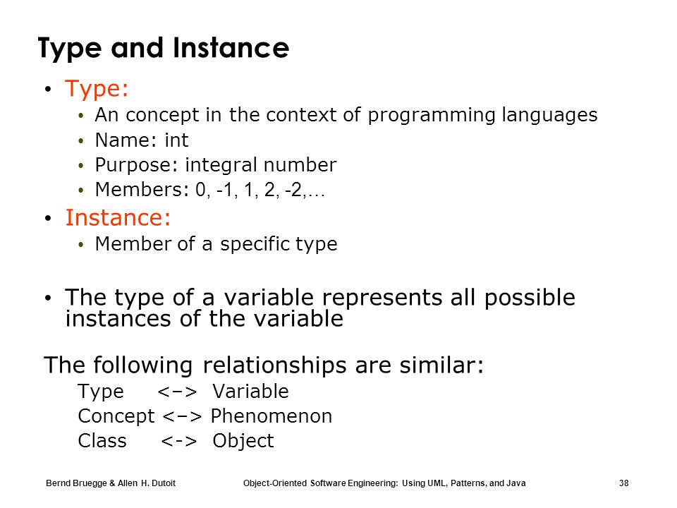 Type and Instance Type: Instance:
