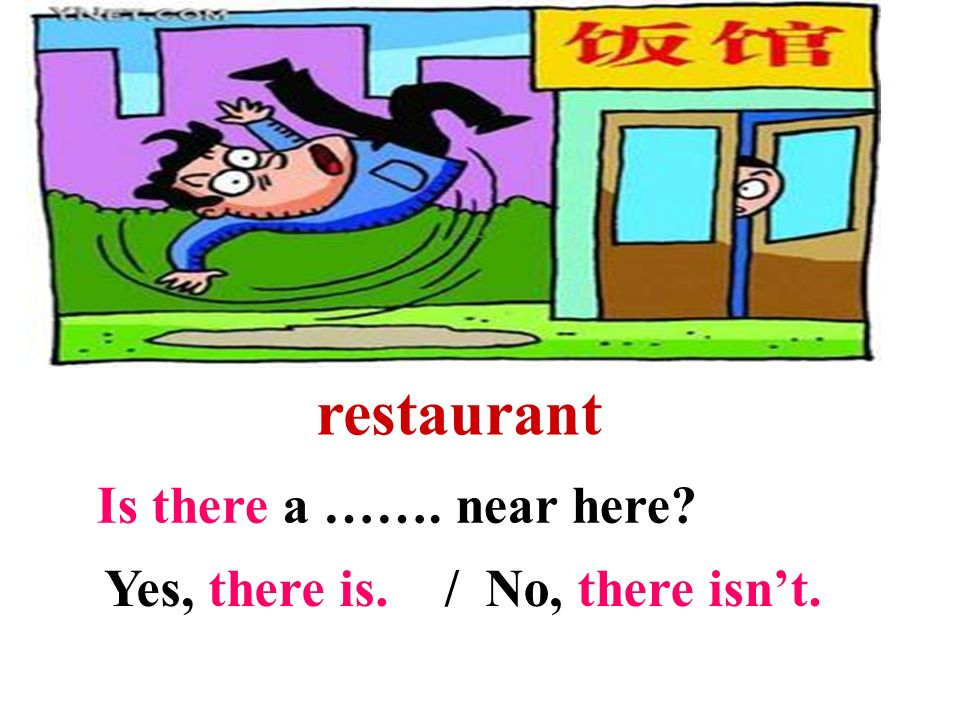 restaurant Is there a ……. near here Yes, there is. / No, there isn't.