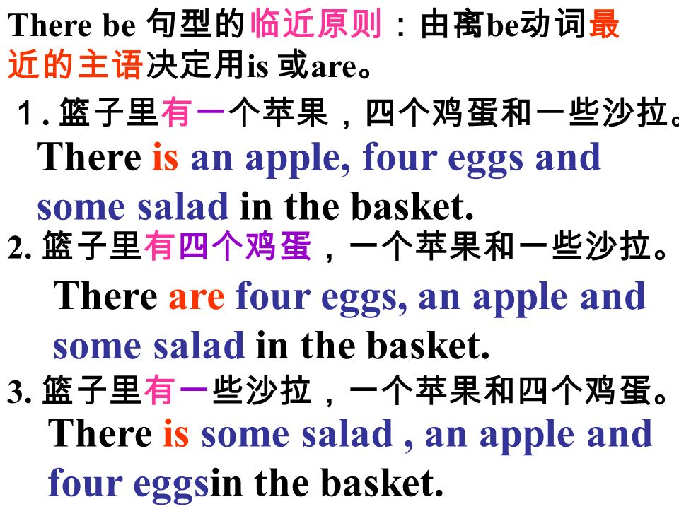 There is an apple, four eggs and some salad in the basket.