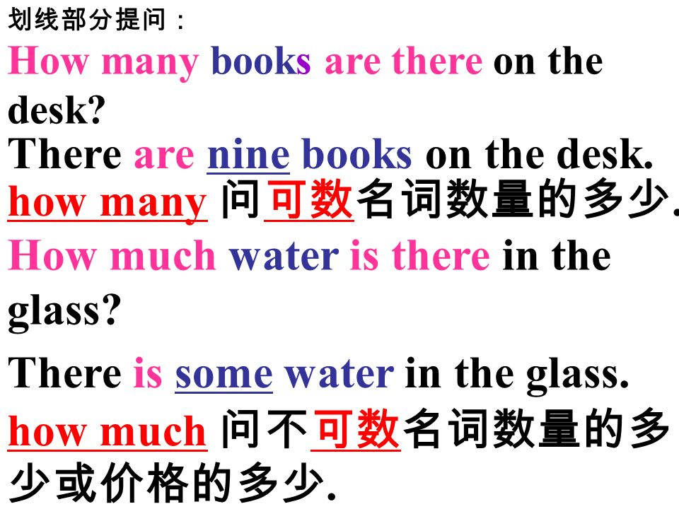 There are nine books on the desk. how many 问可数名词数量的多少.