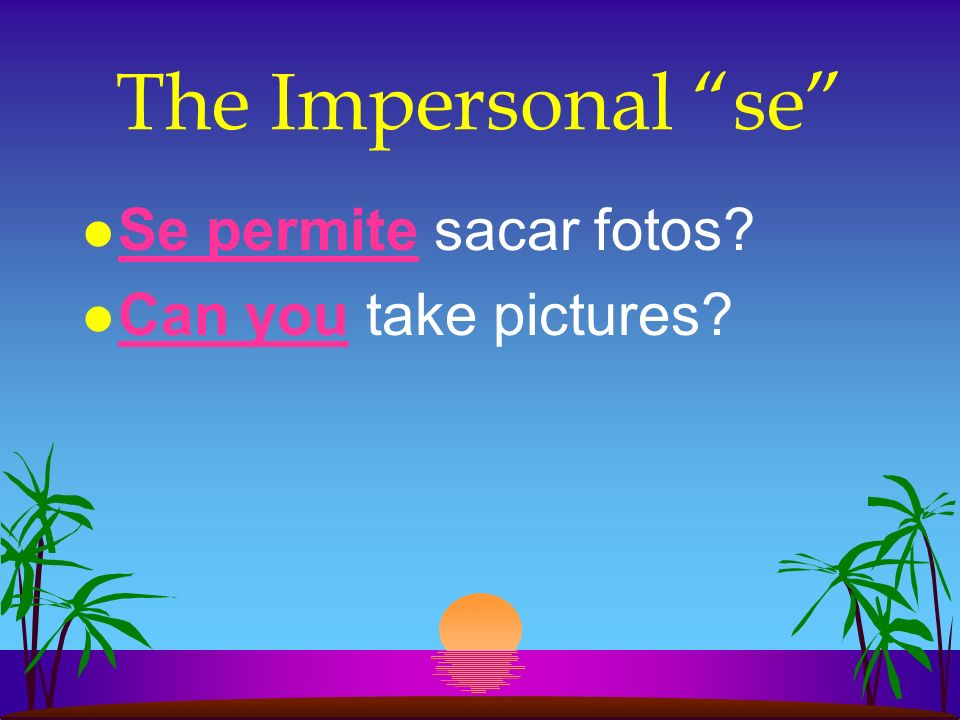 The Impersonal se Se permite sacar fotos Can you take pictures
