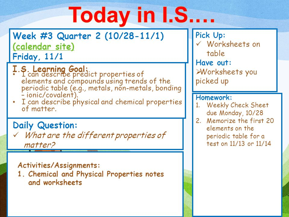Today in I.S.… Week #3 Quarter 2 (10/28-11/1) (calendar site)