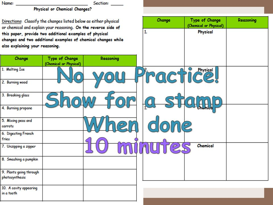 No you Practice! Show for a stamp When done 10 minutes