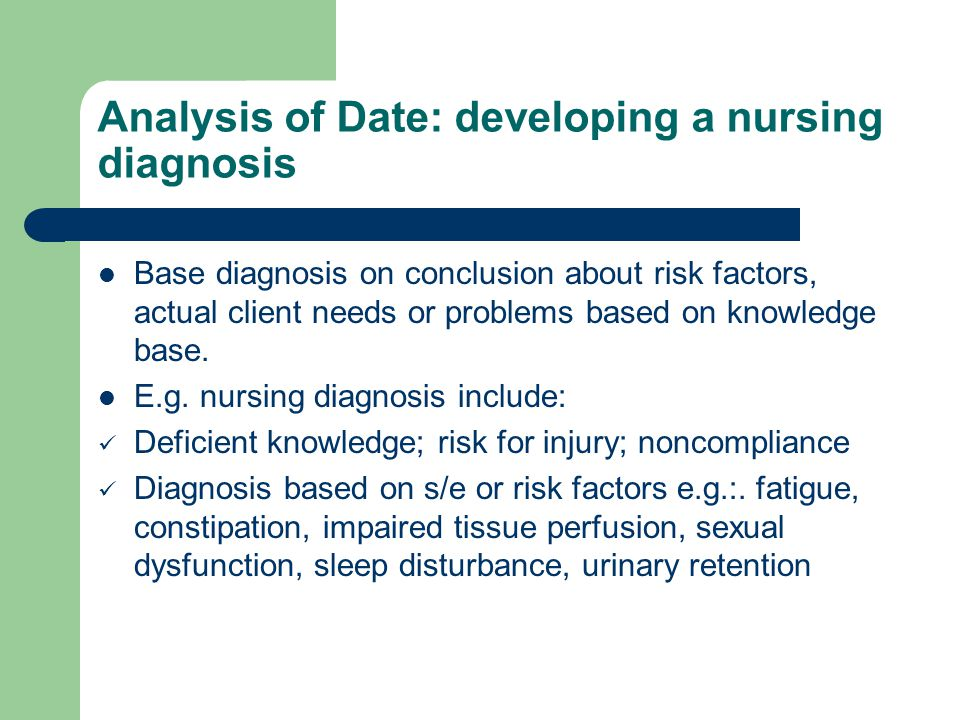 Analysis of Date: developing a nursing diagnosis