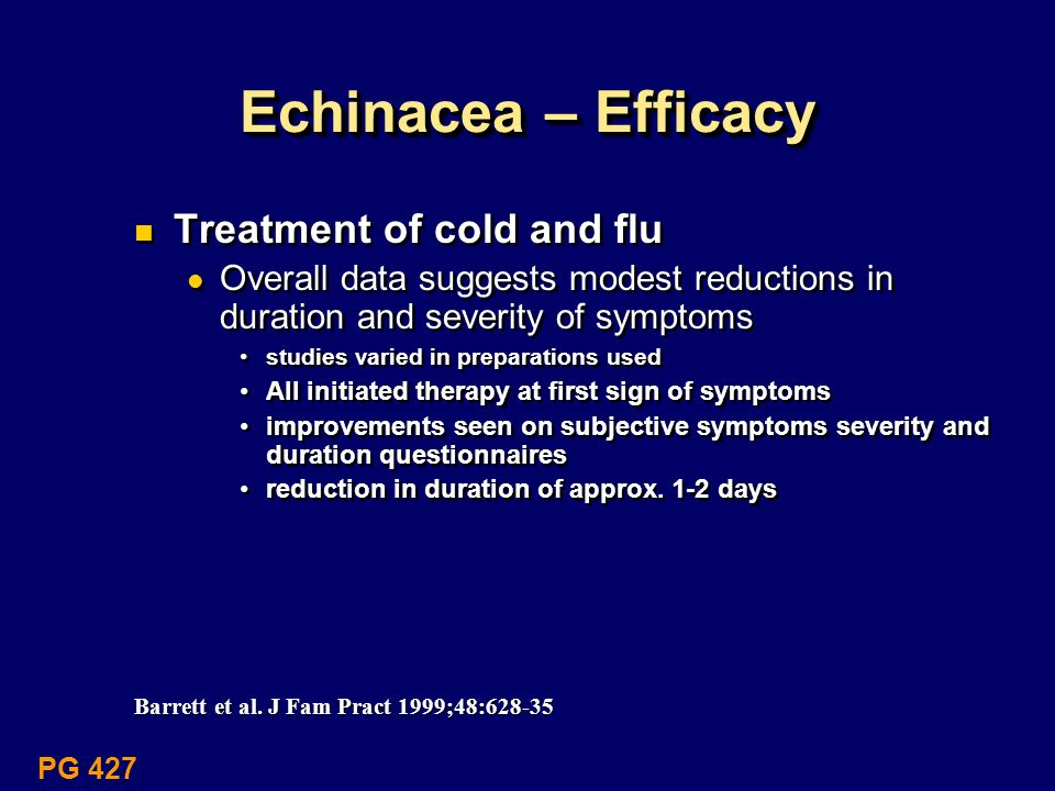 Echinacea – Efficacy Treatment of cold and flu